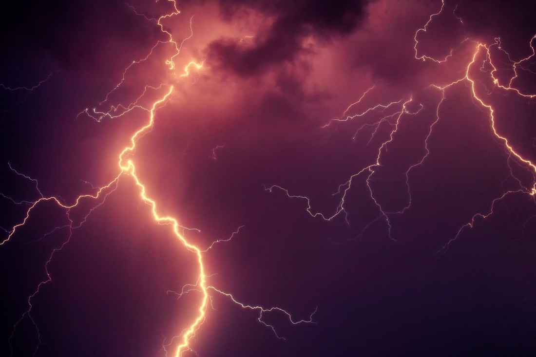 lightning during nighttime